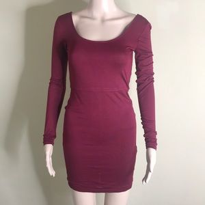 Burgundy Wine Color Bodycon Dress Size Small